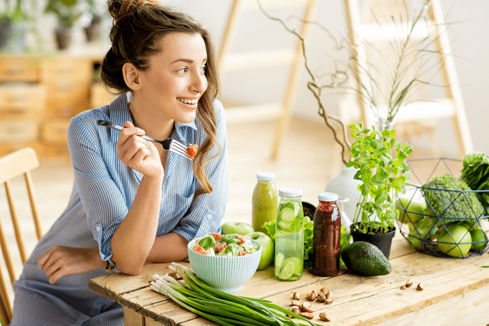 women eating ayurvedic healthy diet