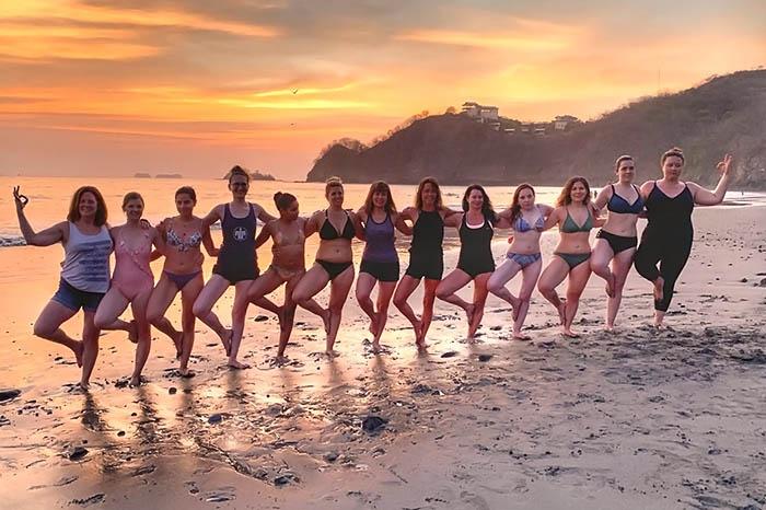 Travel girl yoga in costa rica
