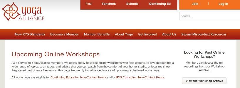 yoga alliance online workshops