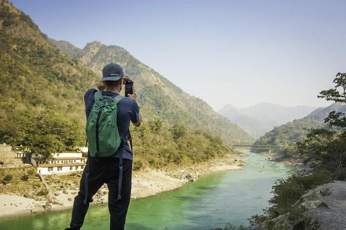 man exploring nature